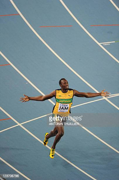 Jamaica's Usain Bolt wins the men's 4x100 metres relay final to set a new world record at the International Association of Athletics Federations...