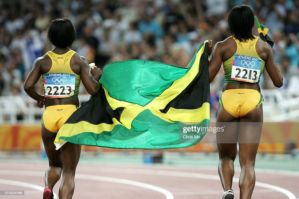 Jamaica's Veronica Campbell (L) and <a gi-track='captionPersonalityLinkClicked' href=/galleries/search?phrase=Aleen+Bailey&family=editorial&specificpeople=769891 ng-click='$event.stopPropagation()'>Aleen Bailey</a> (R) celebrate after Campbell wins the Gold in the Womens 200m finals at the Olympic Stadium in Athens, Greece in a time of 22.05 seconds on August 25, 2004. Bailey placed fifth.