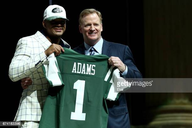Jamal Adams of LSU poses with Commissioner of the National Football League Roger Goodell after being picked overall by the New York Jets during the...
