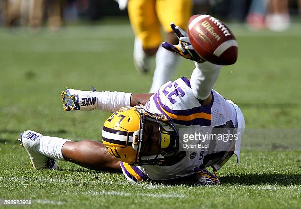 Jamal Adams of the LSU Tigers attempts to make an interception in the second quarter against the Wisconsin Badgers at Lambeau Field on September 3...