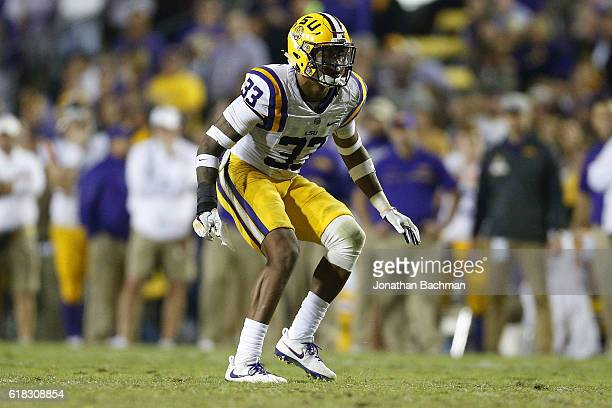 Jamal Adams of the LSU Tigers defends during a game against the Mississippi Rebels at Tiger Stadium on October 22 2016 in Baton Rouge Louisiana