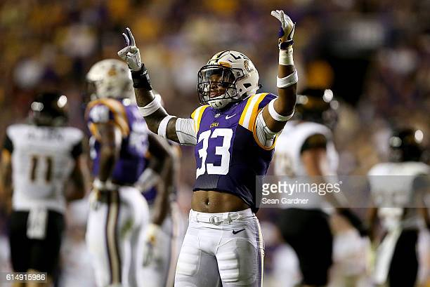 Jamal Adams of the LSU Tigers reacts after a play in the second quarter against the Southern Miss Golden Eagles at Tiger Stadium on October 15 2016...