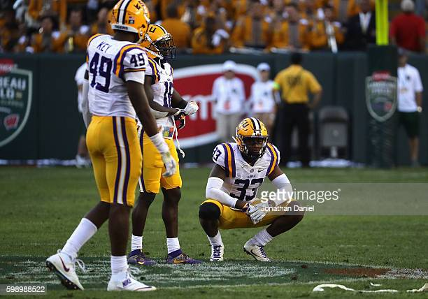 Jamal Adams of the LSU Tigers reacts after being defeated 1614 by the Wisconsin Badgers at Lambeau Field on September 3 2016 in Green Bay Wisconsin