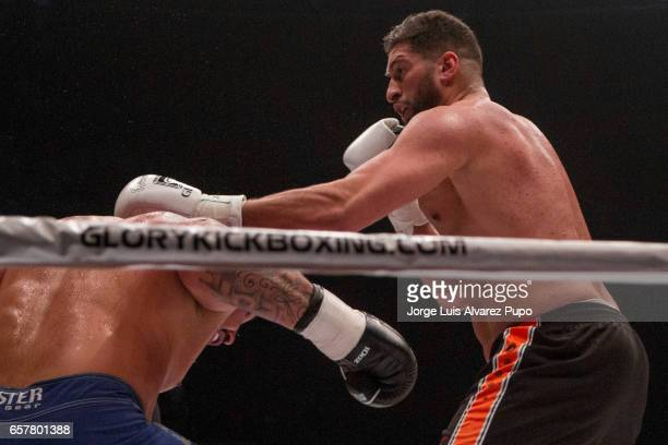 Jamal Ben Saddik of Morocco fight against Guto Inocente of Brazil during a Heavyweight Glory kickboxing Superfight at Forest National Arena on March...