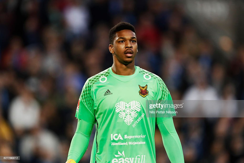 Jamal Blackman of Ostersunds FK during the Allsvenskan match between Djurgardens IF and Ostersunds FK at Tele2 Arena on May 2, 2016 in Stockholm, Sweden.