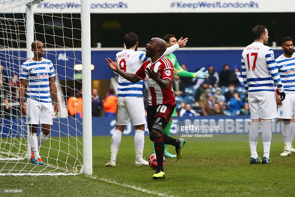 Jamal Campbell-Ryce of Sheffield United (20) celebrates as he scores their second goal during the FA Cup Third Round match between Queens Park Rangers and Sheffield United at Loftus Road on January 4, 2015 in London, England.