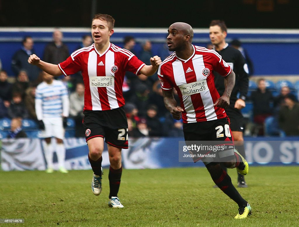 Jamal Campbell-Ryce of Sheffield United (20) celebrates as he scores their third goal during the FA Cup Third Round match between Queens Park Rangers and Sheffield United at Loftus Road on January 4, 2015 in London, England.