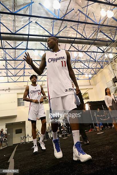 Jamal Crawford and Chris DouglasRoberts of the Los Angeles Clippers acknowledge memebers of the media during Los Angeles Clippers Media Day at Los...