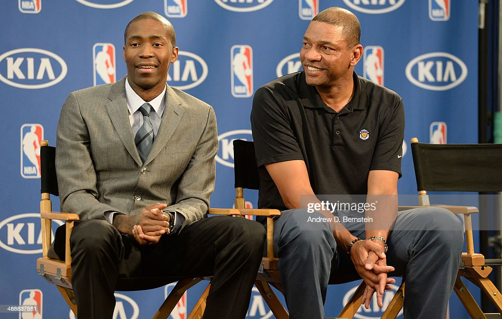 Jamal Crawford #11 and Doc Rivers of the Los Angeles Clippers sit during the Sixth Man Award Press Conference at the Los Angeles Clippers Training Facility on May 8, 2014 in Playa Vista, California.