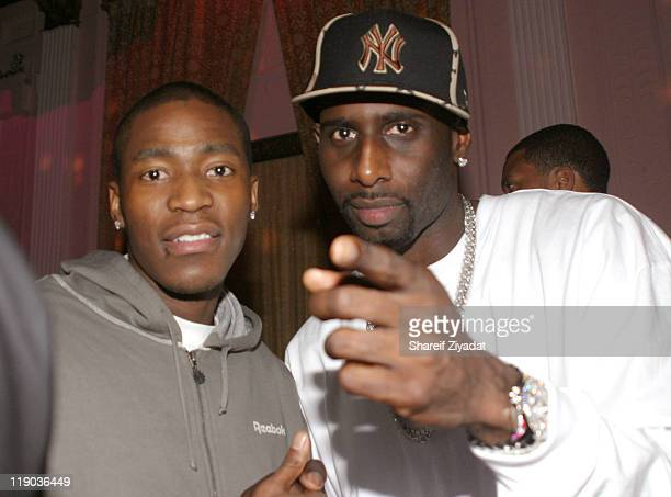 Jamal Crawford and Tim Thomas during Tim Thomas of New York Knicks' Birthday Party February 23 2005 at Show in New York City New York United States