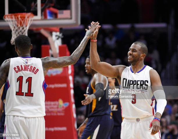Jamal Crawford Chris Paul of the Los Angeles Clippers celebrate against Utah Jazz during the second half of the basketball game at Staples Center...