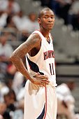 Jamal Crawford of the Atlanta Hawks looks on against the Milwaukee Bucks in Game One of the Eastern Conference Quarterfinals during the 2010 NBA...