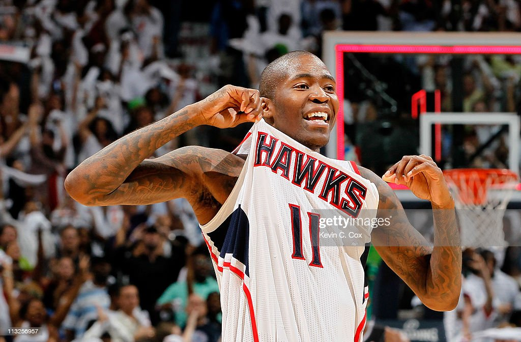 <a gi-track='captionPersonalityLinkClicked' href=/galleries/search?phrase=Jamal+Crawford&family=editorial&specificpeople=201851 ng-click='$event.stopPropagation()'>Jamal Crawford</a> #11 of the Atlanta Hawks reacts after their 84-81 win over the Orlando Magic during Game Six of the Eastern Conference Quarterfinals in the 2011 NBA Playoffs at Philips Arena on April 28, 2011 in Atlanta, Georgia.