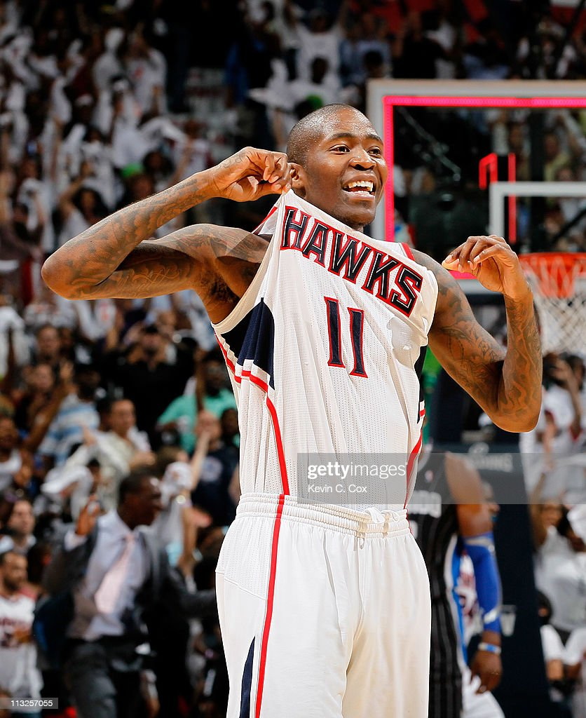 Jamal Crawford #11 of the Atlanta Hawks reacts after their 84-81 win over the Orlando Magic during Game Six of the Eastern Conference Quarterfinals in the 2011 NBA Playoffs at Philips Arena on April 28, 2011 in Atlanta, Georgia.