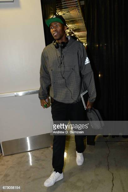 Jamal Crawford of the LA Clippers arrives before the game against the Utah Jazz in Game Five of the Western Conference Quarterfinals of the 2017 NBA...
