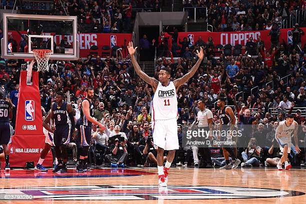 Jamal Crawford of the LA Clippers celebrates against the Memphis Grizzlies on November 16 2016 at STAPLES Center in Los Angeles California NOTE TO...