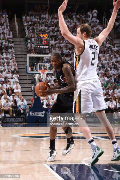 Jamal Crawford of the LA Clippers drives to the basket against the Utah Jazz during Game Four of the Western Conference Quarterfinals during the 2017...