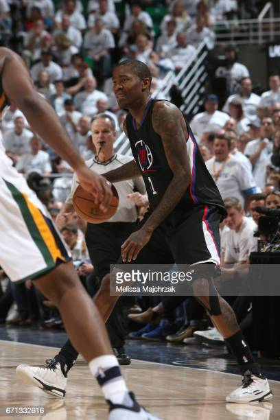 Jamal Crawford of the LA Clippers handles the ball against the Utah Jazz during Game Three of the Western Conference Quarterfinals of the 2017 NBA...