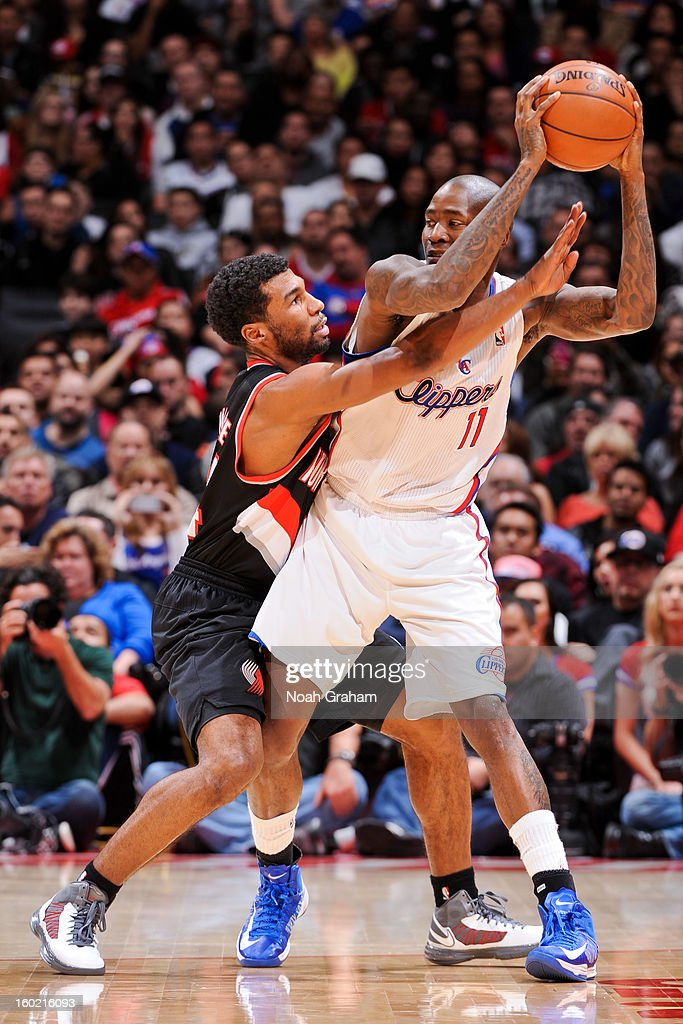 Jamal Crawford #11 of the Los Angeles Clippers controls the ball against Ronnie Price #24 of the Portland Trail Blazers at Staples Center on January 27, 2013 in Los Angeles, California.