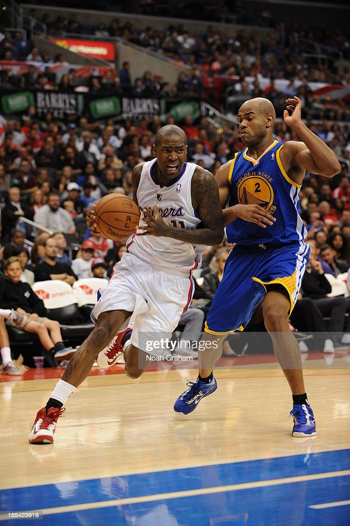 Jamal Crawford #11 of the Los Angeles Clippers drives against Jarrett Jack #2 of the Golden State Warriors during the game between the Los Angeles Clippers and the Golden State Warriors at Staples Center on November 3, 2012 in Los Angeles, California.