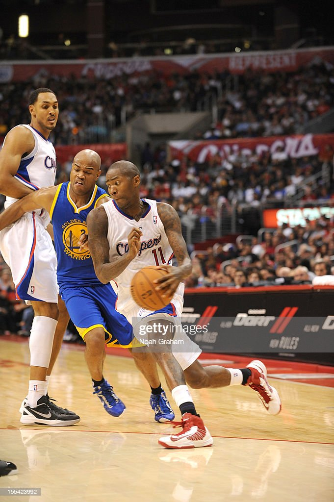 <a gi-track='captionPersonalityLinkClicked' href=/galleries/search?phrase=Jamal+Crawford&family=editorial&specificpeople=201851 ng-click='$event.stopPropagation()'>Jamal Crawford</a> #11 of the Los Angeles Clippers drives against <a gi-track='captionPersonalityLinkClicked' href=/galleries/search?phrase=Jarrett+Jack&family=editorial&specificpeople=208109 ng-click='$event.stopPropagation()'>Jarrett Jack</a> #2 of the Golden State Warriors during the game between the Los Angeles Clippers and the Golden State Warriors at Staples Center on November 3, 2012 in Los Angeles, California.