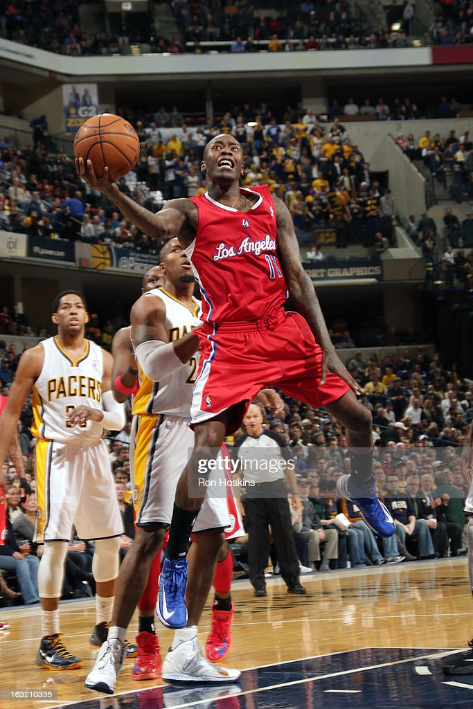 Jamal Crawford #11 of the Los Angeles Clippers drives to the basket against the Indiana Pacers on February 28, 2013 at Bankers Life Fieldhouse in Indianapolis, Indiana.