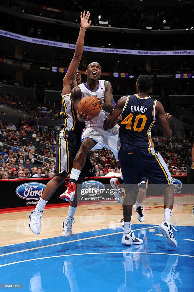 <a gi-track='captionPersonalityLinkClicked' href=/galleries/search?phrase=Jamal+Crawford&family=editorial&specificpeople=201851 ng-click='$event.stopPropagation()'>Jamal Crawford</a> #11 of the Los Angeles Clippers goes to the basket against Jeremy Evans #40 of the Utah Jazz during a pre-season game at Staples Center on October 17, 2012 in Los Angeles, California.