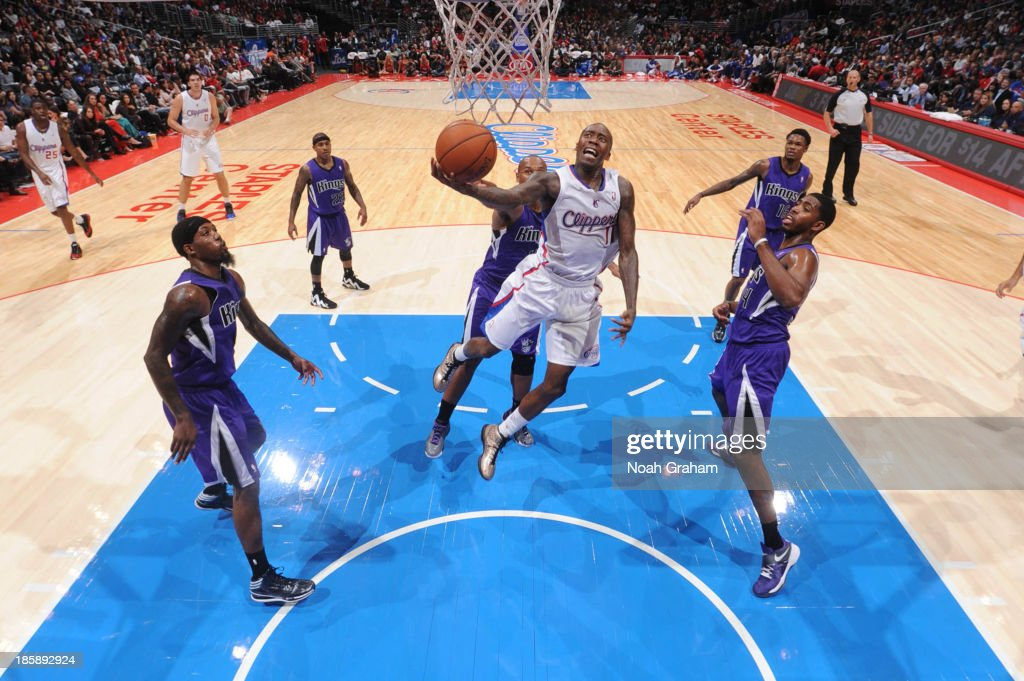 <a gi-track='captionPersonalityLinkClicked' href=/galleries/search?phrase=Jamal+Crawford&family=editorial&specificpeople=201851 ng-click='$event.stopPropagation()'>Jamal Crawford</a> #11 of the Los Angeles Clippers goes to the basket against the Sacramento Kings at Staples Center on October 25, 2013 in Los Angeles, California.