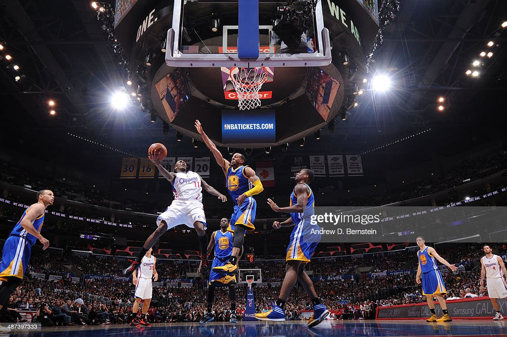 <a gi-track='captionPersonalityLinkClicked' href=/galleries/search?phrase=Jamal+Crawford&family=editorial&specificpeople=201851 ng-click='$event.stopPropagation()'>Jamal Crawford</a> #11 of the Los Angeles Clippers goes up for a shot against the Golden State Warriors in Game Five of the Western Conference Quarterfinals at Staples Center on April 29, 2014 in Los Angeles, California.