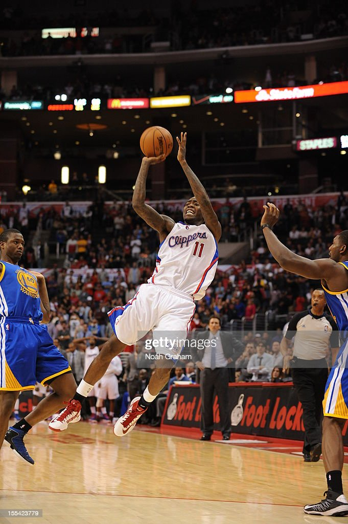 Jamal Crawford #11 of the Los Angeles Clippers handles the ball during the game between the Los Angeles Clippers and the Golden State Warriors at Staples Center on November 3, 2012 in Los Angeles, California.
