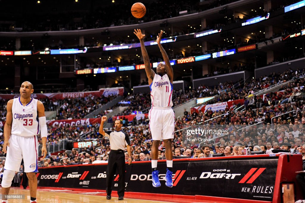 Jamal Crawford #11 of the Los Angeles Clippers shoots a three-pointer against the Washington Wizards at Staples Center on January 19, 2013 in Los Angeles, California.