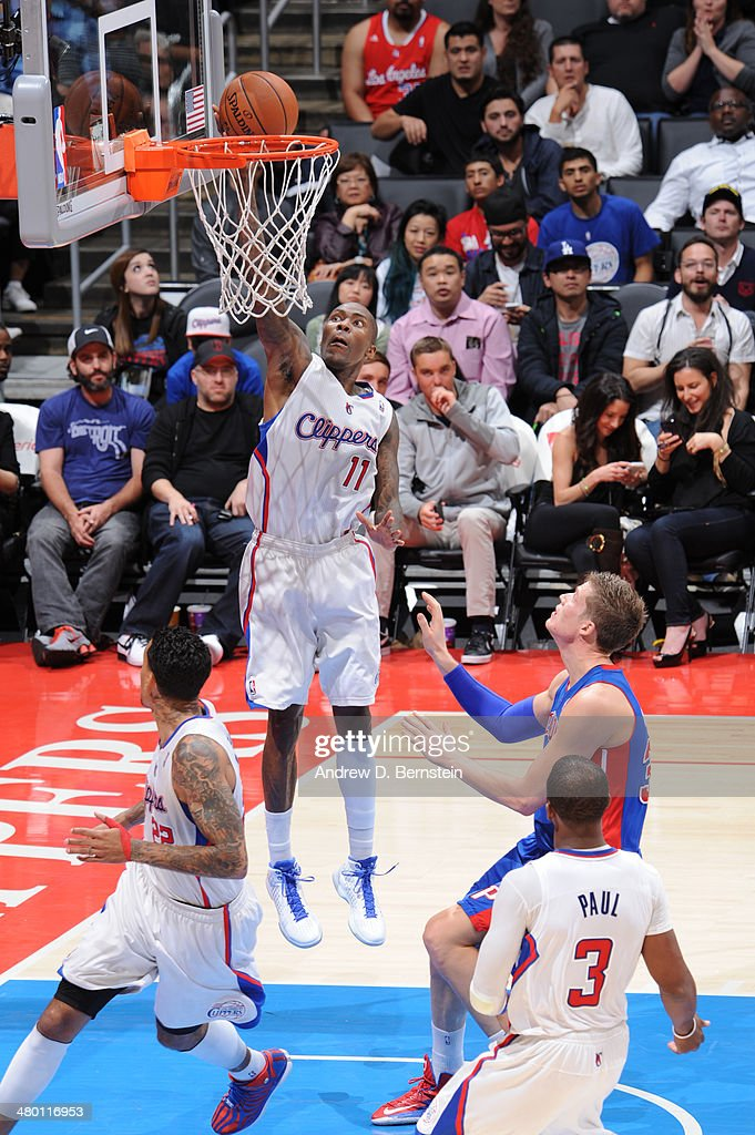 Jamal Crawford #11 of the Los Angeles Clippers shoots during a game against the Detroit Pistons at STAPLES Center on March 22, 2014 in Los Angeles, California.
