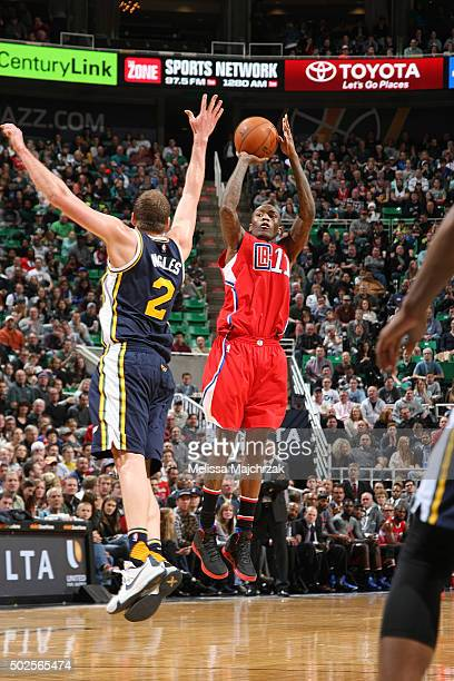 Jamal Crawford of the Los Angeles Clippers shoots the ball against the Utah Jazz on December 26 2015 at vivintSmartHome Arena in Salt Lake City Utah...