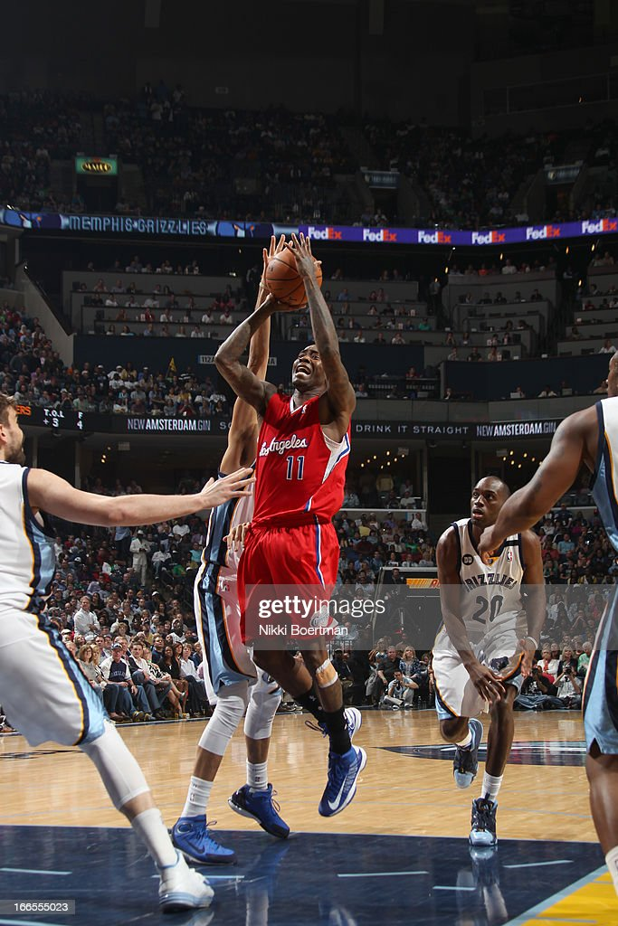 <a gi-track='captionPersonalityLinkClicked' href=/galleries/search?phrase=Jamal+Crawford&family=editorial&specificpeople=201851 ng-click='$event.stopPropagation()'>Jamal Crawford</a> #11 of the Los Angeles Clippers shoots the ball during the game between the Los Angeles Clippers and the Memphis Grizzlies on April 13, 2013 at FedExForum in Memphis, Tennessee.