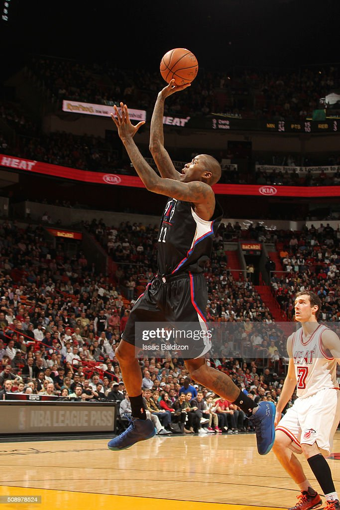<a gi-track='captionPersonalityLinkClicked' href=/galleries/search?phrase=Jamal+Crawford&family=editorial&specificpeople=201851 ng-click='$event.stopPropagation()'>Jamal Crawford</a> #11 of the Los Angeles Clippers shoots the ball during the game against the Miami Heat on February 7, 2016 at AmericanAirlines Arena in Miami, Florida.