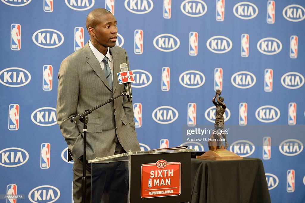 Jamal Crawford #11 of the Los Angeles Clippers speaks during a press conference for being awarded Sixth Man of the Year at the Los Angeles Clippers Training Facility on May 8, 2014 in Playa Vista, California.