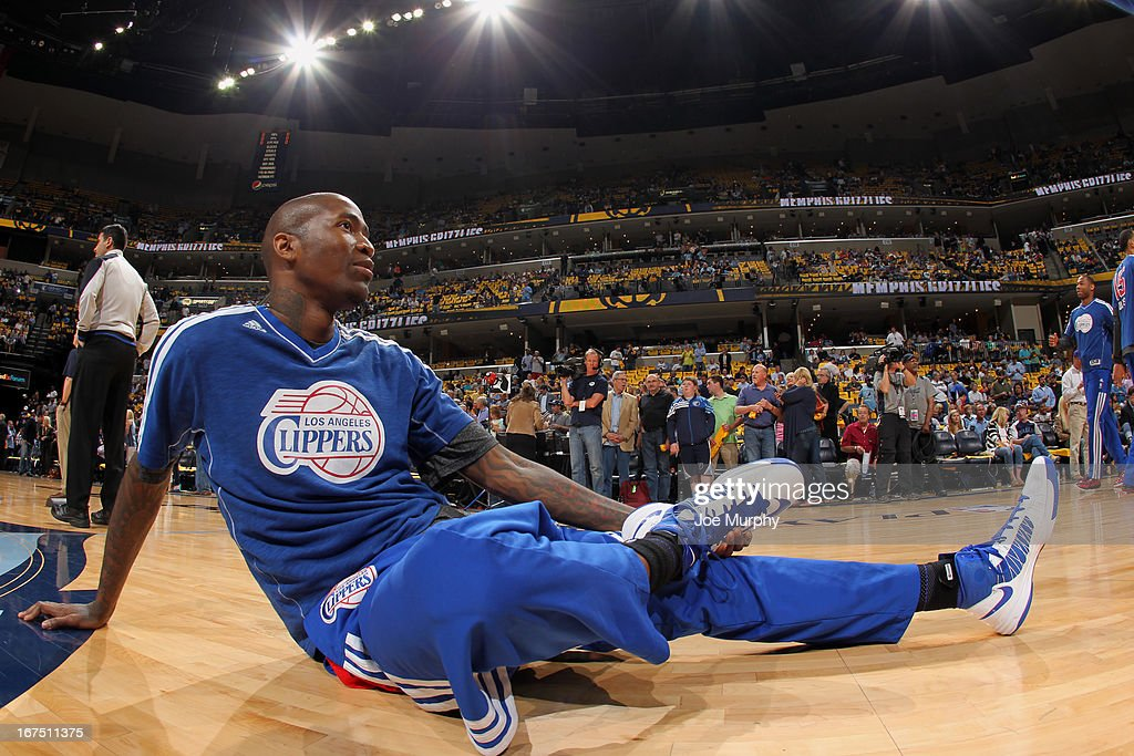 Jamal Crawford #11 of the Los Angeles Clippers stretches before playing against the Memphis Grizzlies in Game Three of the Western Conference Quarterfinals during the 2013 NBA Playoffs on April 25, 2013 at FedExForum in Memphis, Tennessee.