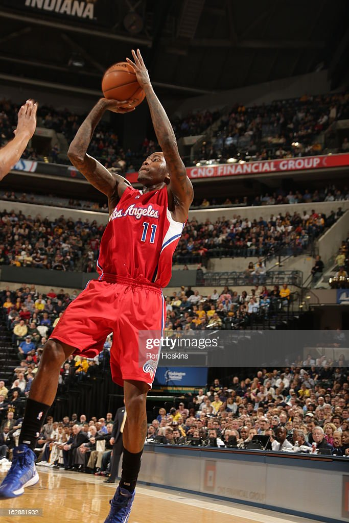 <a gi-track='captionPersonalityLinkClicked' href=/galleries/search?phrase=Jamal+Crawford&family=editorial&specificpeople=201851 ng-click='$event.stopPropagation()'>Jamal Crawford</a> #11 of the Los Angeles Clippers takes a fadeaway against the Indiana Pacers on February 28, 2013 at Bankers Life Fieldhouse in Indianapolis, Indiana.