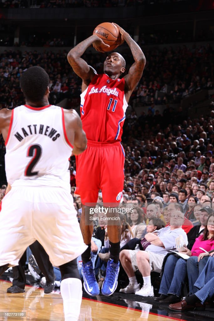 <a gi-track='captionPersonalityLinkClicked' href=/galleries/search?phrase=Jamal+Crawford&family=editorial&specificpeople=201851 ng-click='$event.stopPropagation()'>Jamal Crawford</a> #11 of the Los Angeles Clippers takes a shot against the Portland Trail Blazers on January 26, 2013 at the Rose Garden Arena in Portland, Oregon.