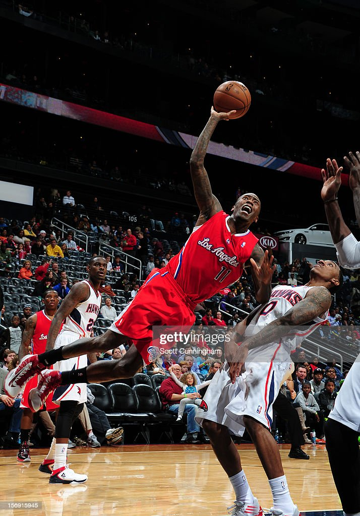 Jamal Crawford #11 of the Los Angeles Clippers takes a shot vs the Atlanta Hawks at Philips Arena on November 24, 2012 in Atlanta, Georgia.