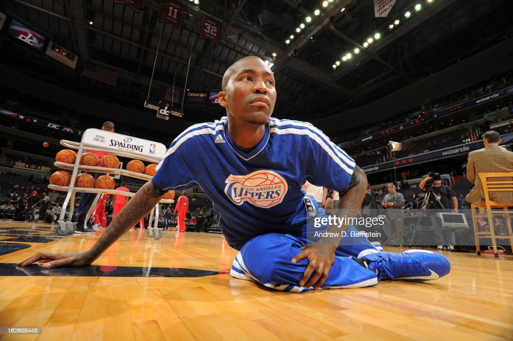 <a gi-track='captionPersonalityLinkClicked' href=/galleries/search?phrase=Jamal+Crawford&family=editorial&specificpeople=201851 ng-click='$event.stopPropagation()'>Jamal Crawford</a> #11 of the Los Angeles Clippers warms up before the game against the Washington Wizards on February 4, 2013 at the Verizon Center in Washington, DC.