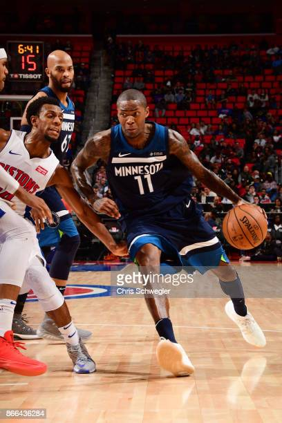 Jamal Crawford of the Minnesota Timberwolves handles the ball against the Detroit Pistons on October 25 2017 at Little Caesars Arena in Detroit...
