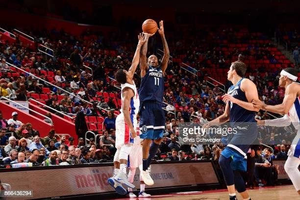 Jamal Crawford of the Minnesota Timberwolves shoots the ball against the Detroit Pistons on October 25 2017 at Little Caesars Arena in Detroit...