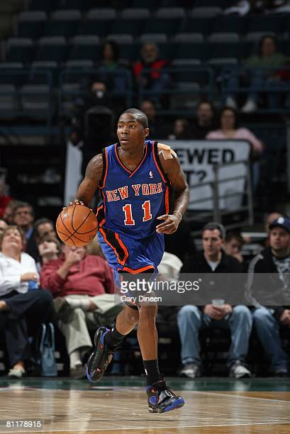 Jamal Crawford of the New York Knicks dribbles against the Milwaukee Bucks during the game on April 1 2008 at the Bradley Center in Milwaukee...