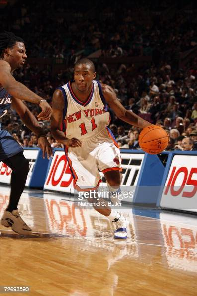 Jamal Crawford of the New York Knicks drives against DeShawn Stevenson of the Washington Wizards during a game at Madison Square Garden on November...
