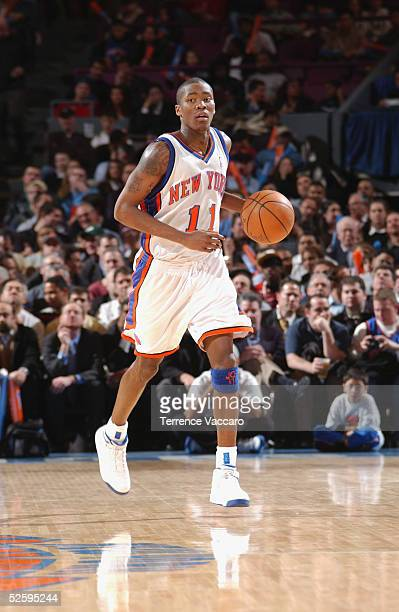Jamal Crawford of the New York Knicks moves the ball during the game against the Milwaukee Bucks at the Madison Square Garden on February 16 2005 in...