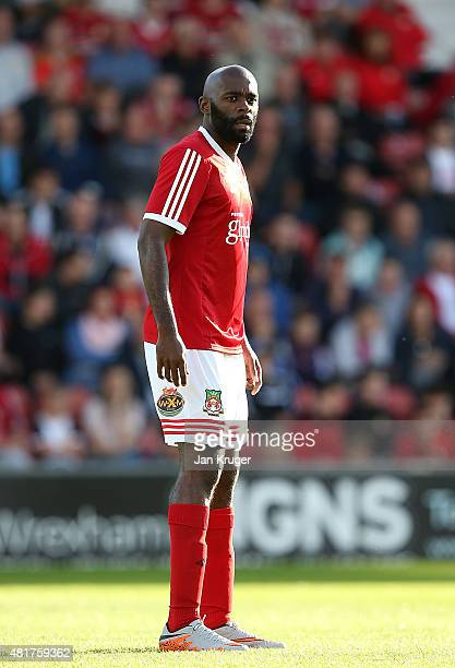 Jamal Fyfield of Wrexham during the pre season friendly match between Wrexham and Stoke City at Racecourse Ground on July 22 2015 in Wrexham Wales