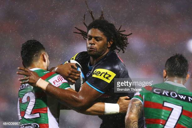 Jamal Idris of the Panthers is tackled by Ben Te'o of the Rabbitohs during the round 6 NRL match between the Penrith Panthers and the South Sydney...