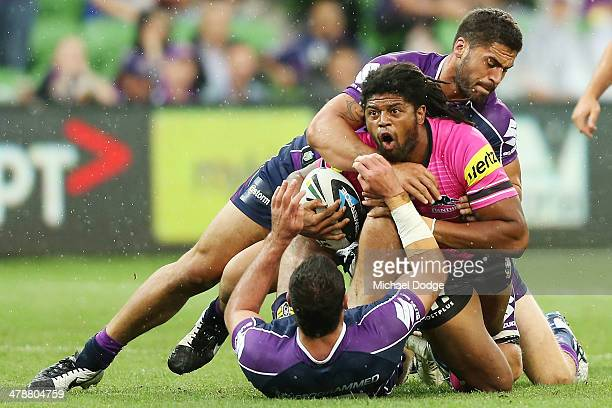 Jamal Idris of the Panthers reacts after getting tackled during the round two NRL match between the Melbourne Storm and the Penrith Panthers at AAMI...