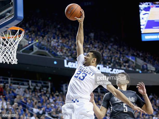 Jamal Murray 0f the Kentucky Wildcats dunks the ball against the Vanderbilt Commodores at Rupp Arena on January 23 2016 in Lexington Kentucky